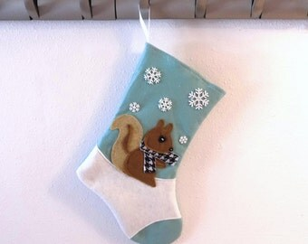 Squirrel Personalized Christmas Stocking by Allenbrite Studio