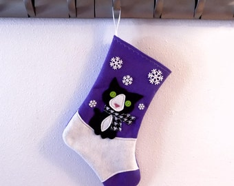 Black and White Cat Kitten Personalized Christmas Stocking by Allenbrite Studio