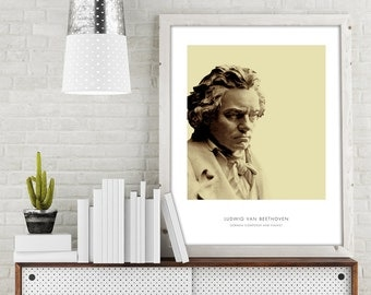 Beethoven | Portrait of Beethoven, Beethoven Bust, Beethoven Photo, Beethoven Art Print, Modern Home Decor, Bust Print, Beethoven Portrait