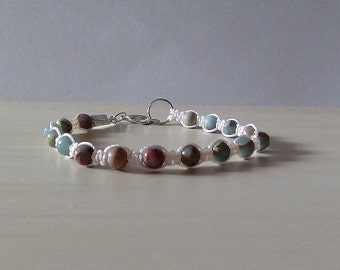 Jasper bracelet - Micro macrame bracelet - jasper jewelry.