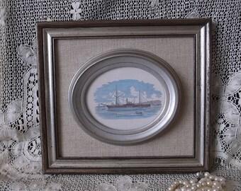 Coastal home decor, vintage nautical picture, ship picture, Lakehouse decor