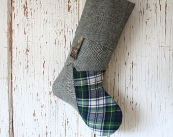 Gray Tweed Equestrian CHRISTMAS STOCKING, Masculine Style