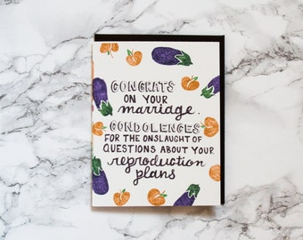 Funny Engagement or Wedding Shower Congratulations Card. Marriage Card.