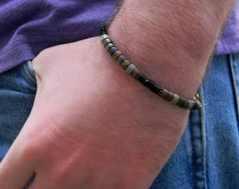 Mens Gemstone Beaded Bracelet Guys Jewelry Mens Jewelry Bracelet for Man Fathers Day Gift for Him Beaded Jewelry Guys Bracelet Stone