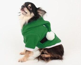 SALE XXS Dog Costume green elf hood fleece Christmas Dog Hoodie, holiday Sweater