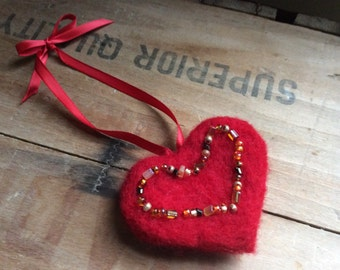 Red Wool Needle Felted Valentine's Day Heart Ornament