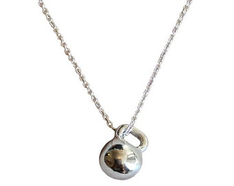 Teeny Sterling Silver Kettlebell Necklace