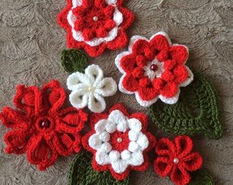 Crochet Flowers.Embellished Handmade Flowers.Freeform Crochet Flowers.Flowers Applications.