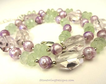 Amethyst Nugget, Prehnite and Freshwater Pearl Necklace
