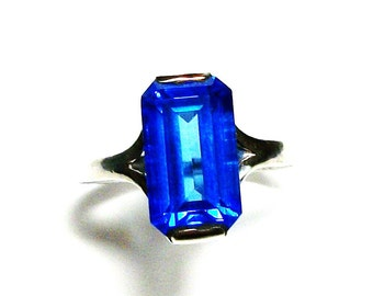"Swiss blue topaz, birthstone ring,solitaire ring, electric blue, engagement ring, s 6 1/2    ""High Voltage"""