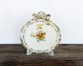 Antique Easter Easel Milk Glass Standing Plate Hand Painted Pansy Plate with Gold Accents Victorian Edwardian Home Decor