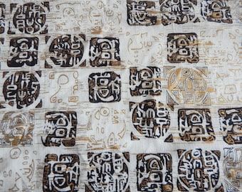 "Vintage 1950s 1960s Midcentury Modern Tiki Barkcloth Fabric Yardage 47"" W BTY By the Yard 6 pieces"