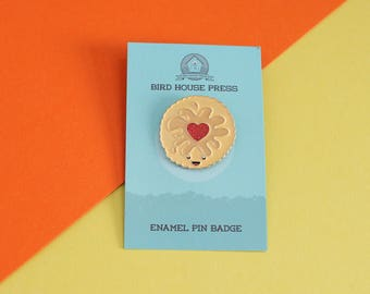 Jammy Dodger Biscuit enamel pin badge - Jammie pin padge