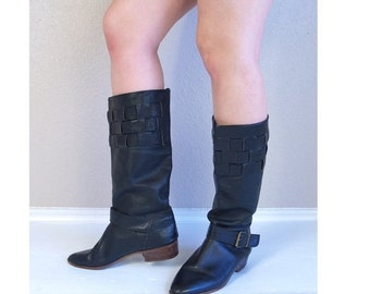 Sale vtg 80s black TALL woven BUCKLE BOOTS 10 knee high flat riding pirate leather boho heels hippie