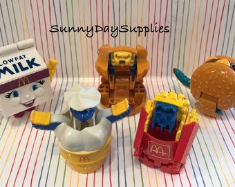 McDonalds Happy Meal Toys, Changeables, Transformers, Food Toys, Dinosaurs amd Robots, Vintage toys from 1980's