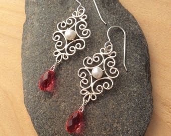 Silver Filigree Earrings with Freshwater Pearls and Swarovski Crystals