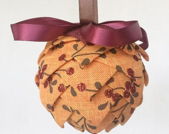 "3.5"" Fall Ribbon Ornament, Orange Fall Decor, Pierced Ornament, Quilted Ornament, Frosted Berry Decoration, Christmas Tree Ornament"
