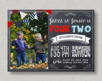 Sibling Birthday Invitation, Boy Birthday Invitation, Chalkboard Invitation