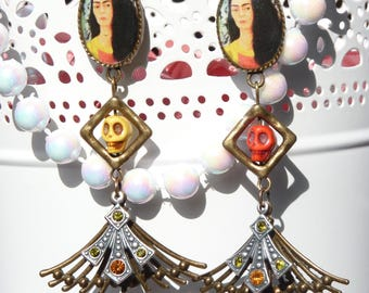 FREE SHIPPING Frida Kahlo Handmade Resin Dangle Earrings - Mexican Folk Art Earrings - Skull Earrings - Frida Jewelry - Mother's Day Gifts