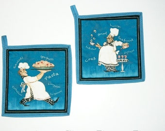 Quilted Pot Holders, Chef Pot Holders, Chef Decor, Summer Decor, Kitchen Decor, Chef Gift, Hot Pads, Blue Pot Holders , Set of 2