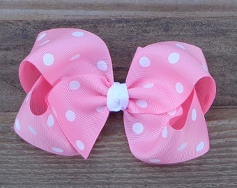 Boutique Hair Bow~Pink Polka Dot Hair Bow~Large Boutique Hair Bow~Simple Hair Bow~Basic Hair Bow~Large Hair Bow~Easter Boutique Hair Bow