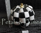 Lot #2 - Black White Check Pumpkin - Hand Painted-Fall-Halloween Decoration-Centerpiece- SEE Photos for measurements- READY to SHIP as Shown