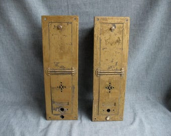 2 Vintage Metal Apartment Mail Boxes Doorbells Slotted Industrial Steampunk
