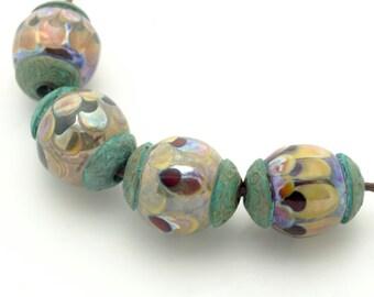 Ancient Petal Beads with Patina Bronze Bead Caps Handmade Lampwork Set