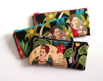 Frida Kahlo zipper pouch, pencil case, pencil pouch, organizer, Frida with monkey or Frida with parrot
