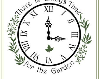 Garden SVG File, Clock svg, Herbs svg, Glass Block Design, SVG file, vinyl cutting, printable, iron on transfer, Garden