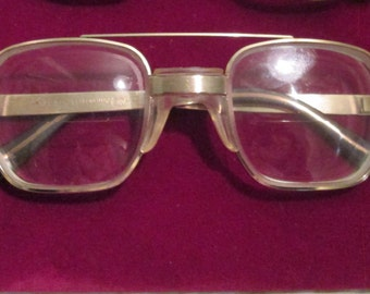 Vintage 60s American Optical Eyeglasses / Retro Aviator Metal Eyeglasses