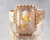 Antique Victorian Bird Resting on a Flower Rose Gold Ring 10K. Rose of Sharon Ring. Love Bird.