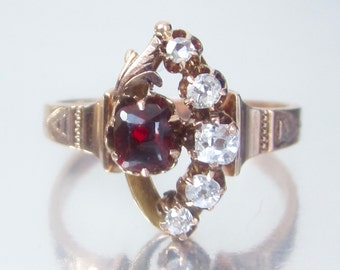 Antique Victorian Old Mine Diamond and Garnet Rose Gold Engagement Ring