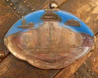 VINTAGE - Copper & Enamel, New York City/Statue of Liberty  Souvenir Wall Hanging/Trinket Tray
