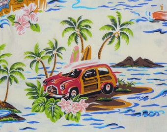 Tropical Fabric,  Tropical Vacation, Vacation Fabric, Woody Cars, Boats and Water, Watercolor Style,  By the Yard, Cotton Fabric
