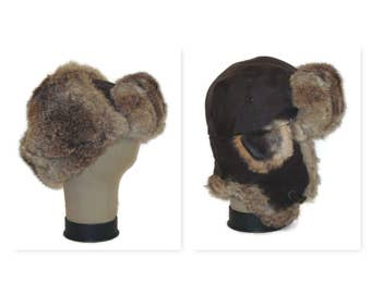Winter Hat Brown Leather Hat Fur Trappers Hat Made in Canada Hat with Ear Flaps Brown Fur Hat Leather Winter Hat Fur Aviator Leather Aviator