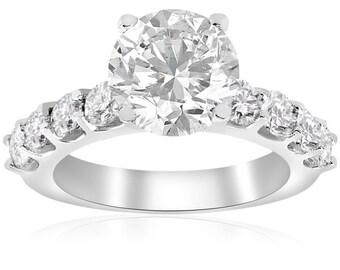 Diamond Engagement Ring, 3 Carat Diamond Engagement Ring, Round Brilliant Solitaire Diamond Engagement Ring 14k White Gold Clarity Enhanced