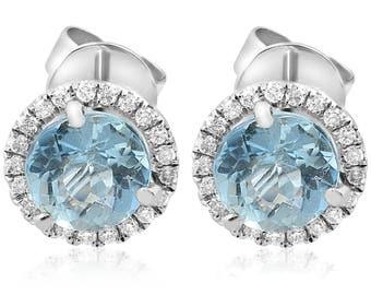 Aquamarine Diamond Studs 2 1/3ct White Gold Halo Diamond Studs Aquamarine Round Brilliant cut 14k Genuine Womens Earrings