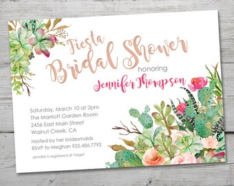 Fiesta Watercolor Cactus Bridal Shower Invitation, PRINTABLE Succulent Bridal Shower Invitation, Cactus Bridal Shower Invite and Thank You