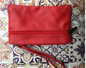 Small genuine leather wristlet BAG in light RED, iPhone case, Cosmetic bag, Make up bag,Purse in RED, soft leather.
