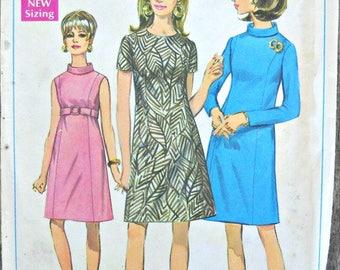 Simplicity 7432 Misses A-Line Dress Pattern, Size 12, Factory Folded Uncut, Vintage, 1967