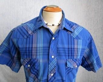 80s L Wrangler Men's Pearl Snap S/S Shirt Blue Plaid