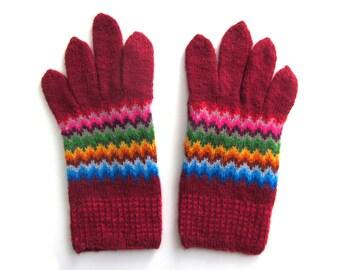 Fun Bargello gloves knit by hand. Size M.