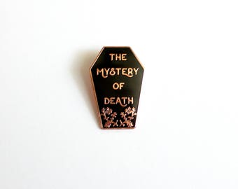 "The Mystery of Death Casket // Twin Peaks inspired // 1.5"" hard enamel lapel pin in black and rose gold"