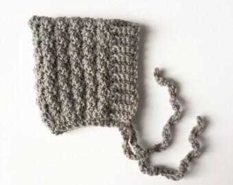 BELL crochet pixie baby bonnet - gray  - MADE to ORDER