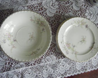 Crooksville China Spring Blossom set of 8 4 small bowls and bread plates
