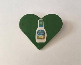 Green Wooden Ranch Heart Pin