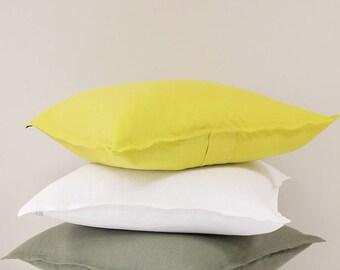 Mustard linen decorative pillow cover, Yellow - green pillow cover, Linen throw pillows, Linen accent pillow or cushion, Handmade pillows