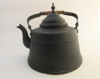 Vintage Aluminum Black Tea Kettle Wood Handle Two Quarts