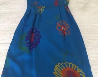 Lanvin electric blue 1980s cocktail dress
